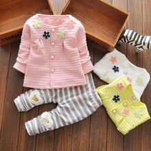 Mode Enfant Bébé Fille Coton Printemps Vêtements Ensemble, Modèle de Dessin Animé T-shirt + Long Pantalon Set, mode Bébé Fille costume Bébé Vêtements