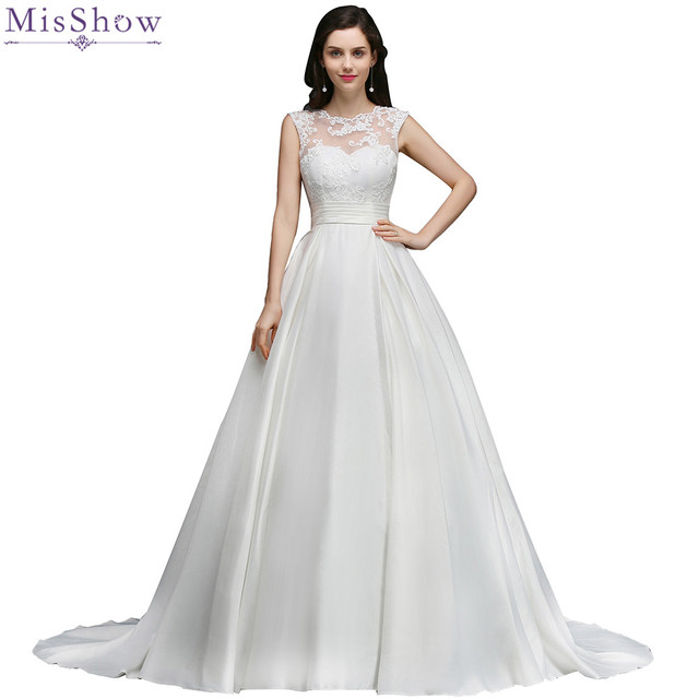 Misshow 2018 Simple Chiffon Lace Wedding Dress Customized Plus Size
