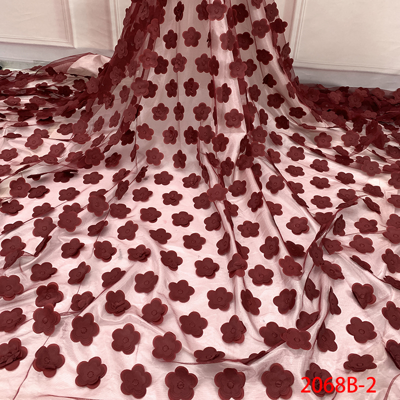 2019 New Style 3D Flower Lace Fabric High Quality African French Tulle Mesh Lace Fabric Applique Laces For Women KS2068B-2