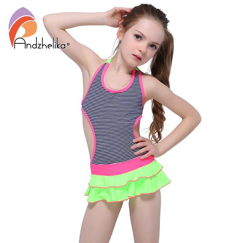 Andzhelika Children's Dress Swimwear 2018 New One Piece Solid Patchwork Bodysuit Children Beachwear  Swim Suit Bathing Suit