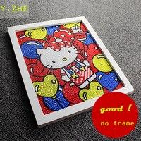 25 30CM 5D DIY Diamond Painting Colourful Hello Kitty Full Embroidery Round Diamond Rhinestone Room Decoration