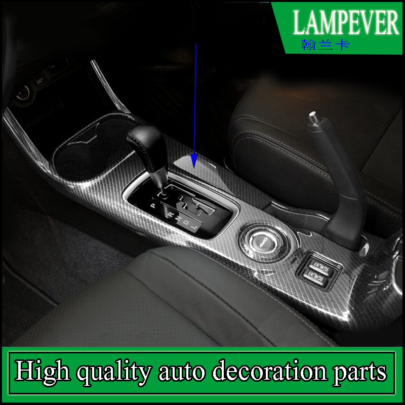 Car styling Full cover gear panel ABS trim For Mitsubishi Outlander 2014-2016 gear panel water cup cover trim Left Hand Drive