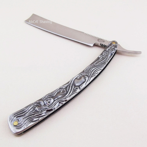 "Image 5 - Stainless Steel Blade Straight Razor Wooden Box ""Sweeney Todd"" Cut Throat Folding Knife Barber Shaving"
