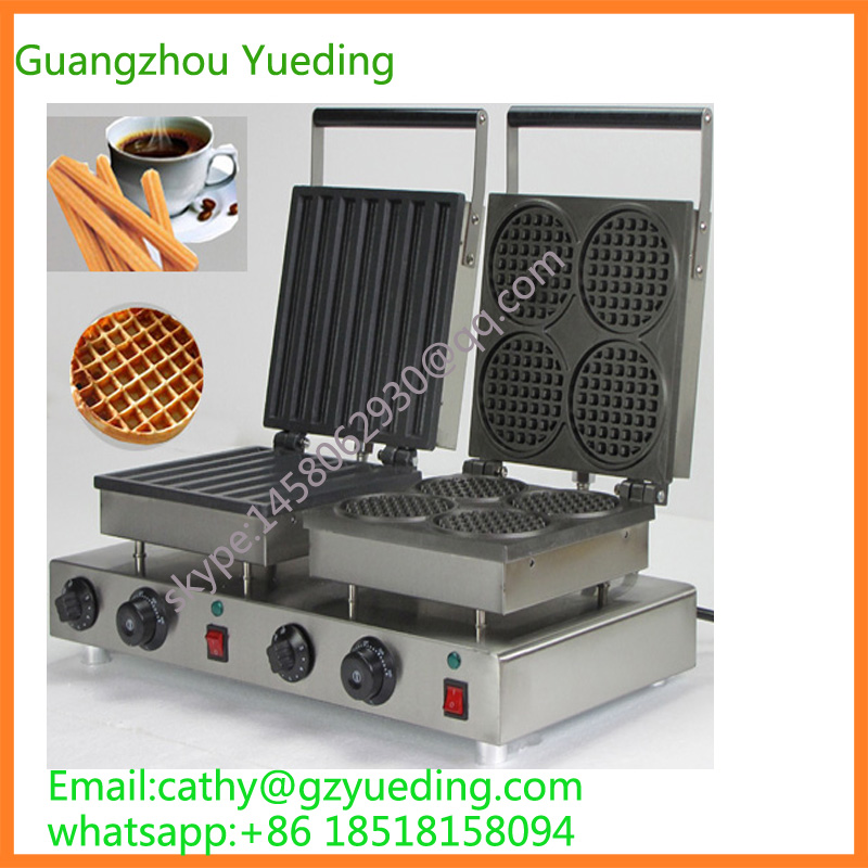 Commercial Non-stick 110V 220V Electric 2 in 1 Churros + Round Waffle Maker Iron Machine free shipping commercial non stick 110v 220v electric 2 in 1belgium waffle stick churros maker machine