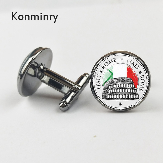 Konminry Italy Cufflinks Art Round Glass Flag Design Shirt Suit French Cuffs Jewelry Wedding