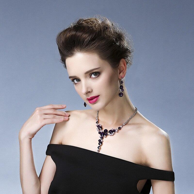 Bra kvinnor brudklänning tillbehör lyx lila blomma kristall strass - Märkessmycken - Foto 4