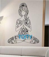الفينيل ملصق الفن ديكور جدار صائق زهرة ناماستي اليوغا التأمل النوم تصميم غرفة المعيشة جدارية زهرة بوذا ناماستي اليوغا