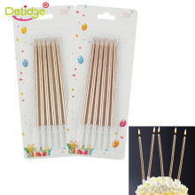 6 PCS Golden Long Pencil Cake Candles Safe Flames Kids Birthday Party Supplier Bridegroom Bride Wedding Home Decoration