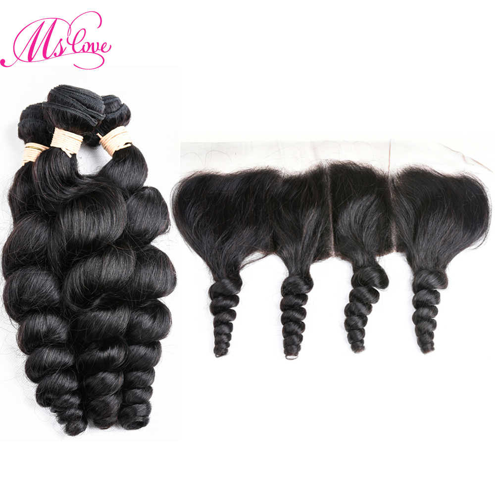 Ms Love Indian Hair Loose Wave Bundles With Frontal Closure Non Remy Human Hair Bundles With Frontal