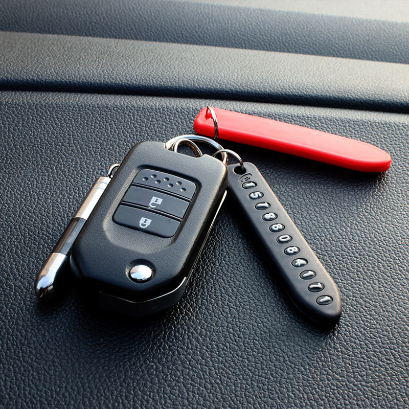 Key Buckle Anti-Lost Key Ring Pendant Car Key Button Pendant Phone Number Card