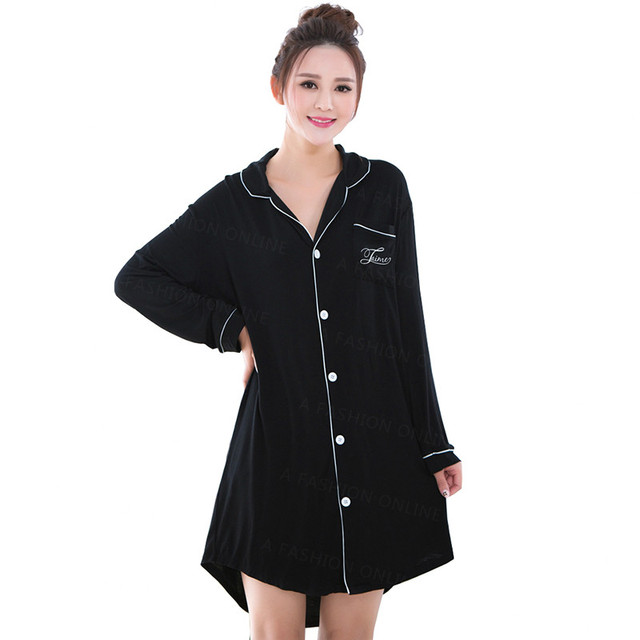 Fashion Long Sleeved 100%Cotton Sleepwear for Women Tops Black Pink Blouses&Shirts Dress Sexy Nightie Nightgown Sleepshirts