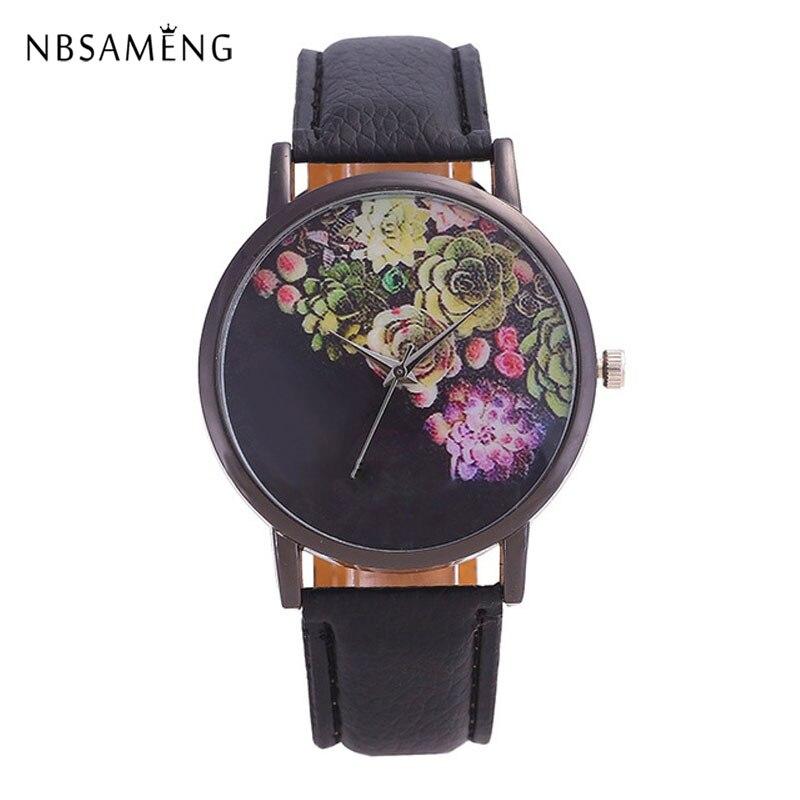 2017 New Fashion Brand Leather Watches Women Rose Flower Printed Quartz Wristwatch Clock Ladies Relojes Feminino Mujer Watch