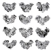 VODOOL 25Pcs Black White Sticker Bomb Doodle Sticker Graffiti Motorcycle Bicycle Luggage Bags Laptop Vinyl Decals Kid Stationery