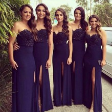 Fast Shipping Hot Sale Sweetheart Wedding Guest Dresses Side Split Chiffon Long Sheath Navy Blue Bridesmaid Dresses