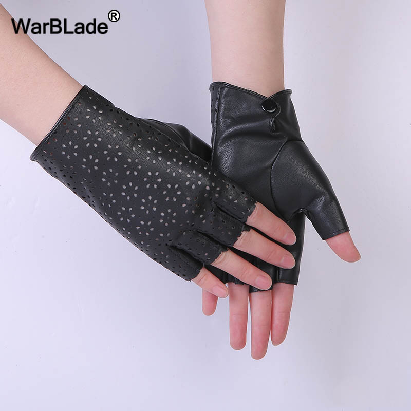 WarBLade Fashion Female Fingerless Gloves Black Breathable Soft Leather Gloves For Dance Party Show Women Half Finger Mittens