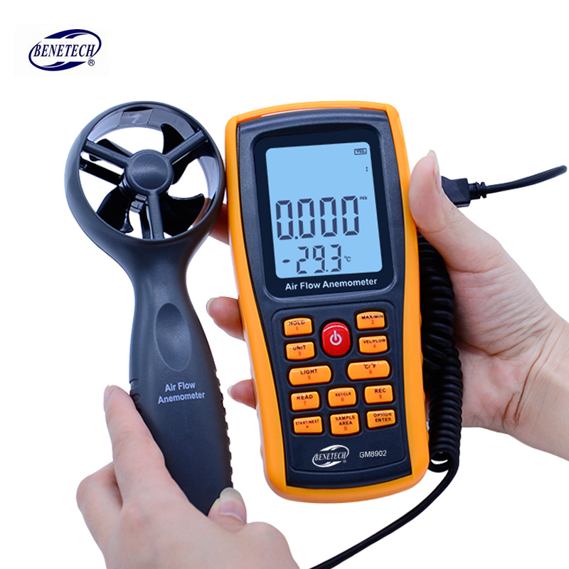BENETECH GM8902 0-45M/S Digital Anemometer Wind Speed Meter Air Volume Ambient Temperature Tester With USB Interface digital indoor air quality carbon dioxide meter temperature rh humidity twa stel display 99 points made in taiwan co2 monitor