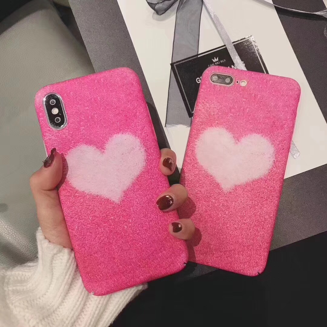 DAZZLING pink soft plush love phone cover For IPhoneX phone case For Iphone 8 tide female models hard shell For Iphone6 s p 7
