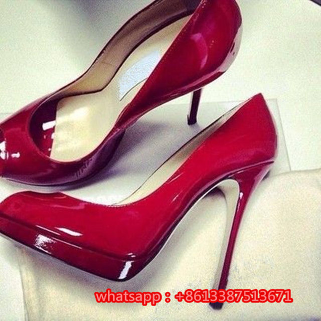 2b1818b364e6 Wedding Dresses Fashion Shoes Sexy Red Patent Leather Platform Women Pumps  Peep Toe Slip On Stiletto High Heel Shoes Woman