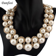 Danfosi Imitation Pearl Necklace Fashion Golden Chain Cross Big Size Beads Collar Choker Statement Jewelry For Women Dress N1220
