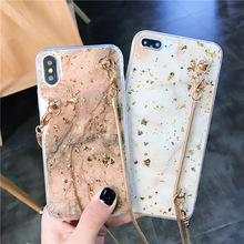 gold foil marble chain strap tpu case for iphone 8 7 6s 6 plus X XR XS MAX cover glitter bling sequins soft silicon phone b