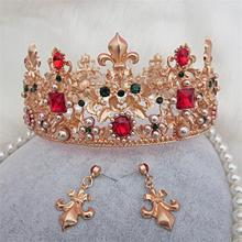 Baroque Style Gold Leaf Red rhinestone Wedding Tiara Crown And Earring Set Alloy Bridal Queen Princess