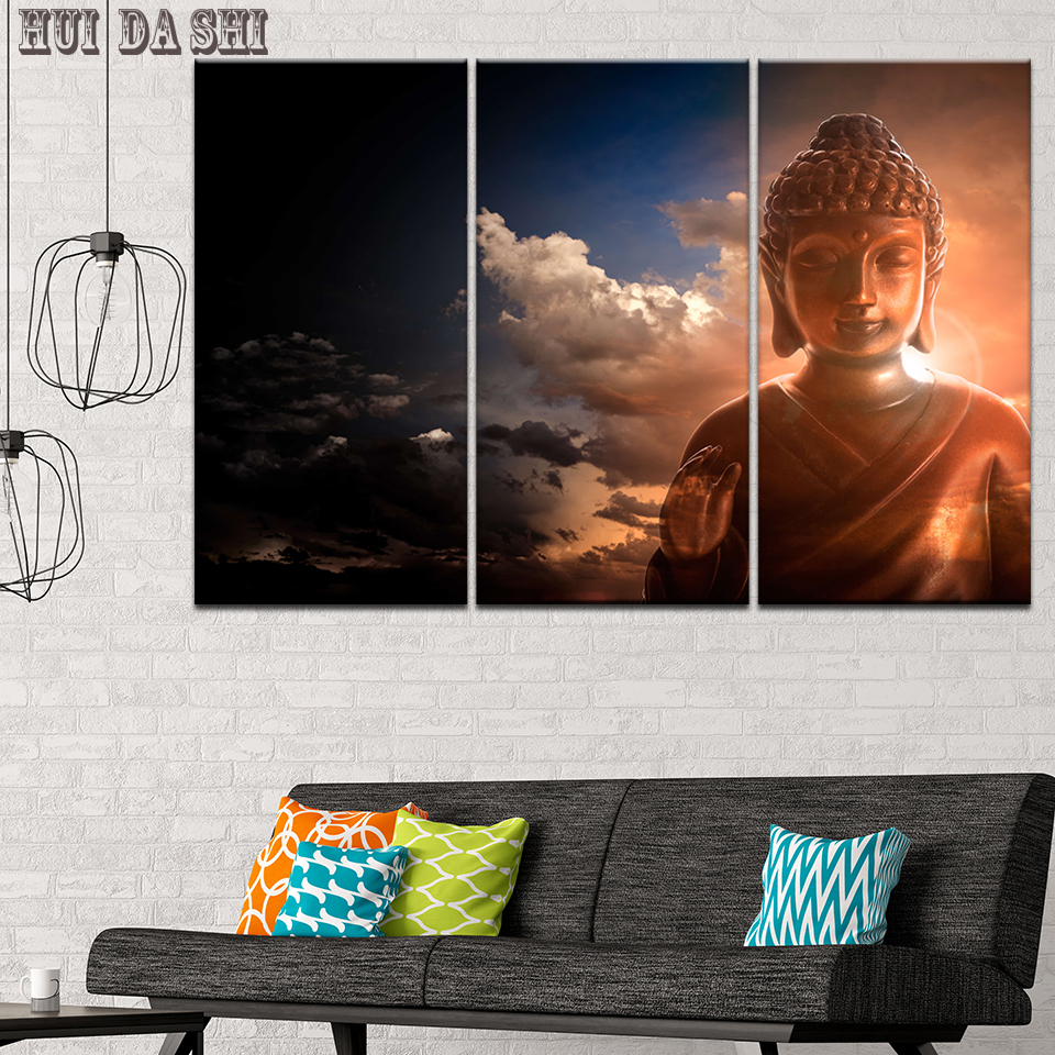 3 Panels Canvas Painting Art Print Poster Buddha Statues Wall Picture Home Decor