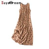 Women Dots Print Long Dress 100%SILK CREPE Casual long Dresses for Women Sleeveless A Line 2019 Summer Printed Dresses Khaki