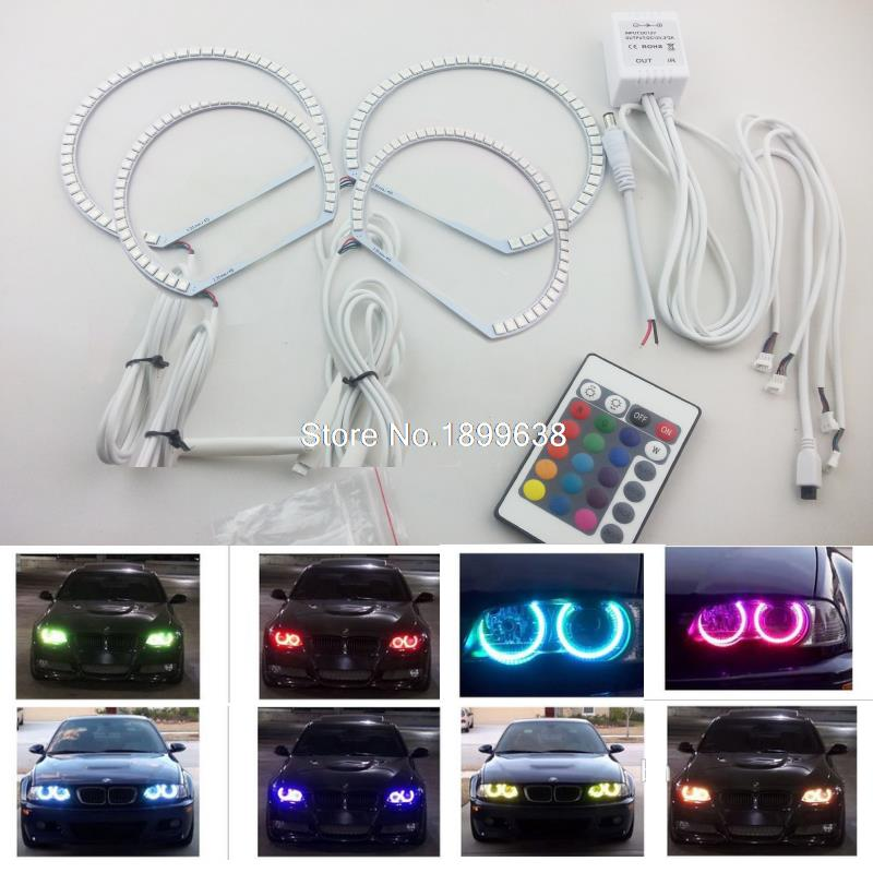 Super bright 7 color RGB LED Angel Eyes Kit with a remote control For BMW E36 E38 E39 E46 3 5 7 Series Xenon Headlight 4x xenon rgb remote multi color led angel eyes kit for bmw e90 2006 2008 e60