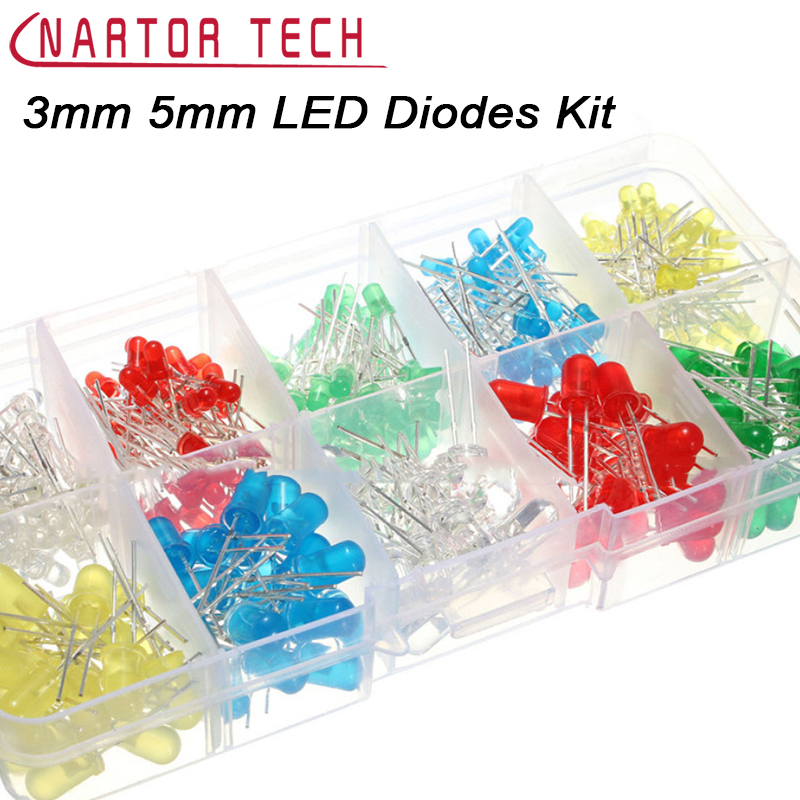 New Hot 300Pcs 3mm 5mm LED Light Multi-color White Yellow Red Blue Green Assortment Diodes Kit Accessories Free Shipping