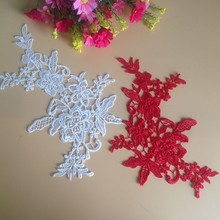10Pieces White Red Wedding Lace Appliqued Flower Accessories Veil Hair Accessory DIY Sewing Fabric For Dress цена