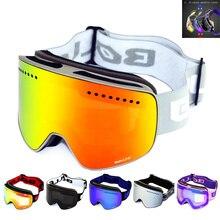 Лыжные очки с магнитным двойным слоем Поляризованные линзы для катания на лыжах противотуманные UV400 очки для сноуборда для мужчин и женщин лыжный Чехол для очков
