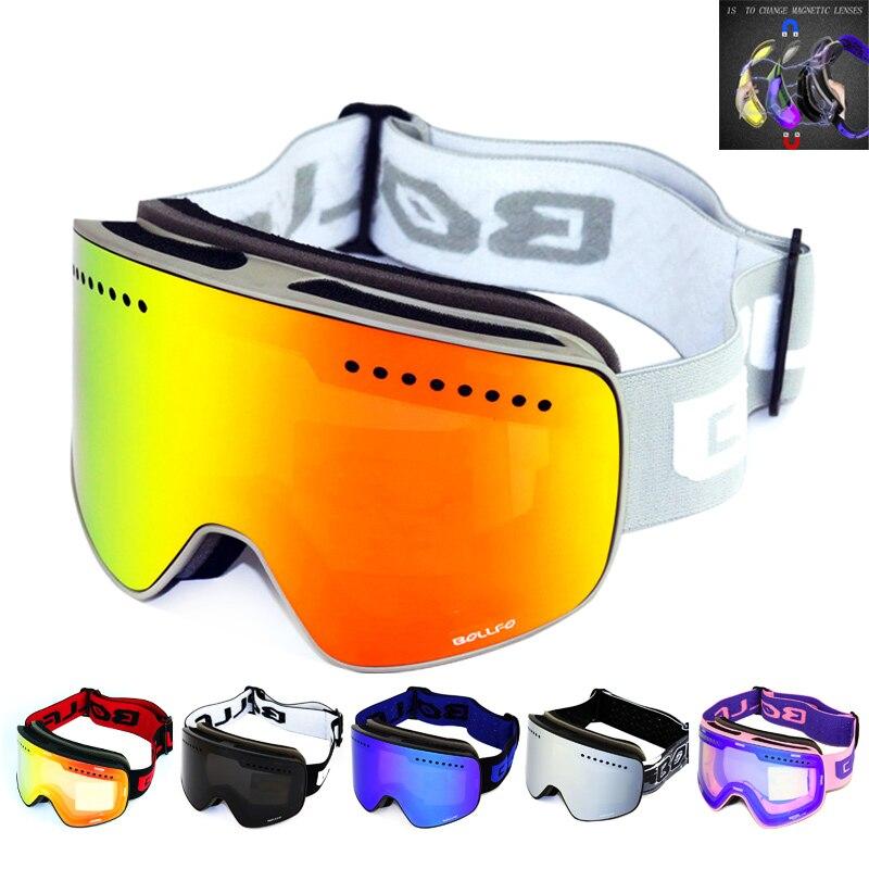 Lunettes de Ski avec lentille polarisée Double couche magnétique Ski Anti-buée UV400 lunettes de Snowboard hommes femmes lunettes de Ski étui à lunettes