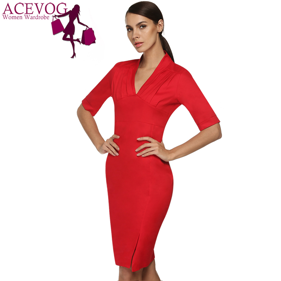 ACEVOG Ladies Career Dress Fashion Knee Length Midi Sleeve Slim Bodycon  Bandage Pencil Office Dress Women Solid Casual Business-in Dresses from  Women s ... 2a7457bdc4fa