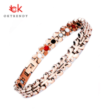 Oktrendy Healthy Magnetic Bracelet Women Jewelry High Power Therapy Germanium Bracelets & Bangles Dropship Hologram Wristband stainless steel hologram bracelet germanium balance energy care magnetic power health bracelets bangles