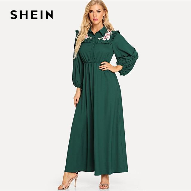 24659b6137 SHEIN Green Embroidered Frilled Yoke Bishop Sleeve Dress Elegant High Waist  Ruched Ruffle Maxi Dresses Women Autumn Flared Dress
