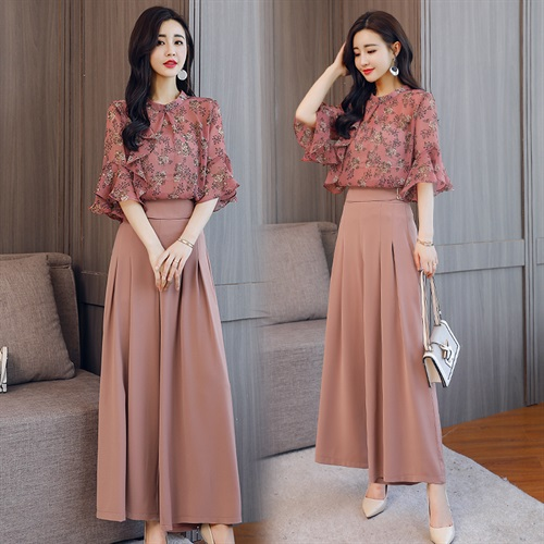 2019 Summer two pieces Sets Women Fashion 2 pieces Suits shirt Tops blouse wide leg Pants