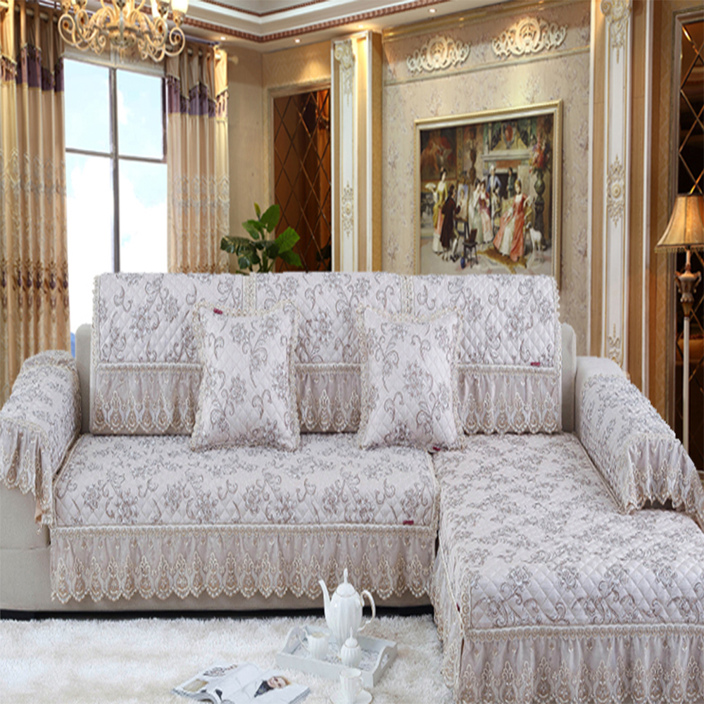 Summer European high-grade fabric sofa cushion cover four season simple modern thick leather sofa set cover slip window