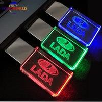 New Crystal Car Logo For LADA USB Flash Drive 8GB 16GB 32GB USB 2 0 Flash