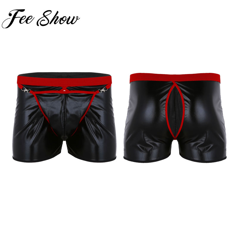FEESHOW Boxer Panties Mens Underwear Open-Back Wetlook Bulge-Pouch Cueca Gay with Homme