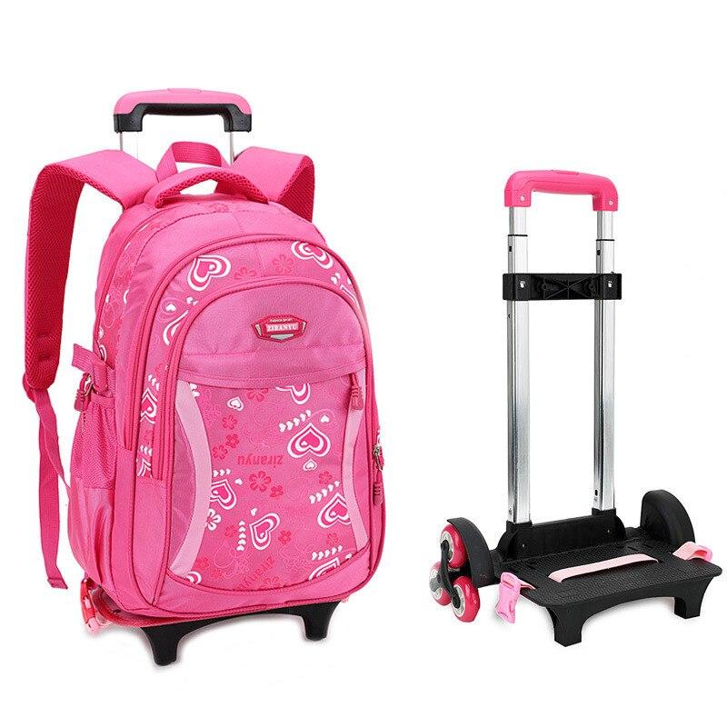 Sacs d'école de chariot à dos d'enfants amovibles avec la roue escalier enfants sac à dos cartables sac de livre d'enfants pour les garçons filles Mochilas