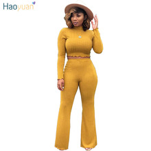 HAOYUAN Women Two Piece Outfits Autumn Winter Turtleneck Knit Sweater Tops and Wide Leg Pa