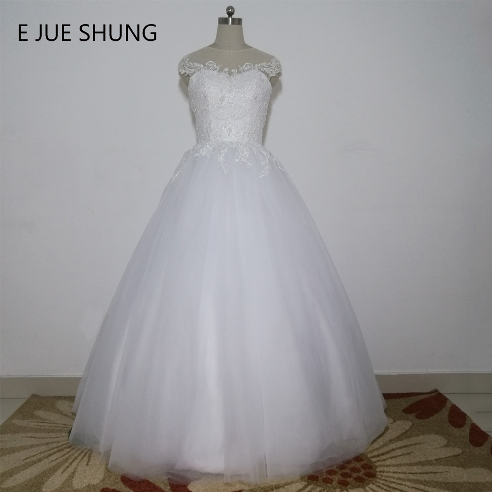 E JUE SHUNG White Vintage Lace Appliques Pearls Wedding Dresses Ball Gown Cap Sleeves Wedding Gowns robe de mariee