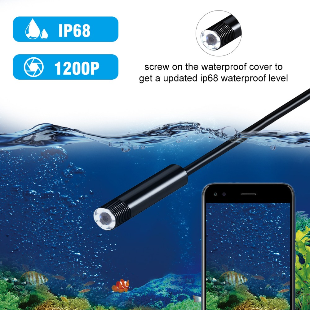 Image 3 - 1200P Endoscope Camera Wireless Endoscope 2.0 MP HD Borescope Rigid Snake Cable for IOS iPhone Android Samsung Smartphone PC-in Surveillance Cameras from Security & Protection