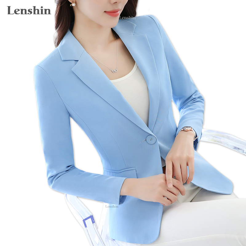Lenshin Candy Color Professional Business Jacket For Women Work Wear Office Lady Elegant Female Blazer Coat New Top