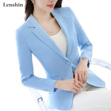 Lenshin Candy Color Professional Business Jacket for Women Work Wear Office Lady Elegant Female Blazer Coat