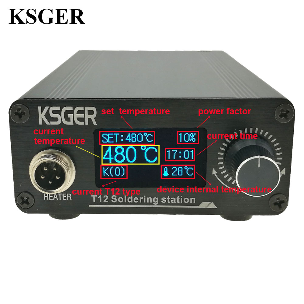 Image 2 - KSGER T12 Soldering Station Iron Tips STM32 V2.01 OLED DIY Kits FX9501 Handle Electric Tools Welding Tips Temperature ControllerElectric Soldering Irons   - AliExpress