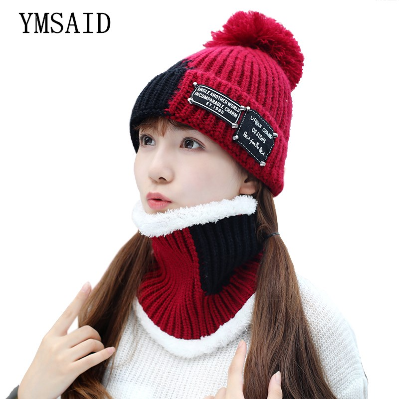 Girl Ski Skullies Beanies Winter Hats For Women Knitting Hat Pompoms Ball Warm Brand Casual Gorros Thick Female Cap Hat Scarf 2p