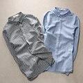 2016 New Spring Men Striped Full Sleeve Four Seasons Often Supply Bamboo Cotton And Linen Shirt Gray Light Blue C210