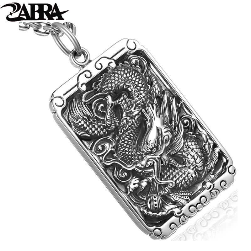 ZABRA 925 Sterling Silver 45 30mm Luxury Dragon Square Pendant Necklace For Men Carved Buddhism letter