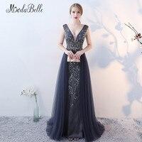 Modabelle Luxury Beaded Evening Dresses Với Crystals Phát Ra Tia Lửa Mở Lại Tulle Dài Dài Gowns Prom 2018 Mới Mang Nhãn Hiệu Robe De Soiree
